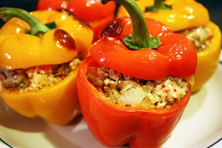 Vegetarian Curried Stuffed Peppers - Cooks and EatsCooks and Eats