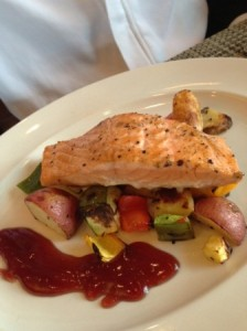 Cedar Plank Roasted Salmon with Berry Reduction