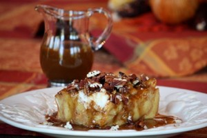 Pumpkin Bread Puddding with Homemade Caramel Sauce
