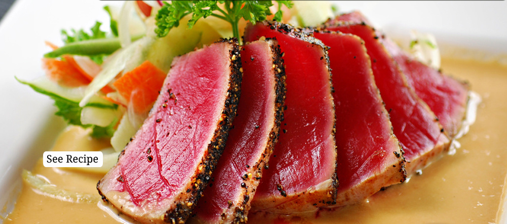 Seared Ahi Tuna with Sesame Seeds and Ginger Sauce - Cooks and ...